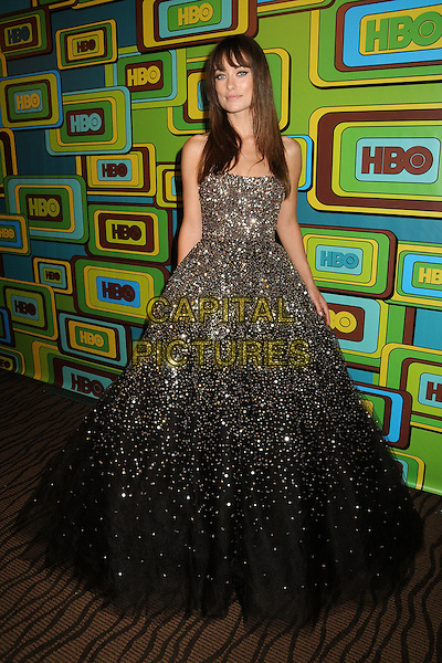 OLIVIA WILDE.HBO 2011 Post Golden Globe Awards Party held at The Beverly Hilton Hotel, Beverly Hills, California, USA..January 16th, 2011.full length dress maxi gown tulle sheer gold black beads beaded strapless.CAP/ADM/BP.©Byron Purvis/AdMedia/Capital Pictures.