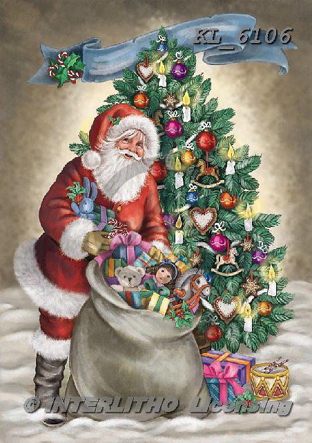 Interlitho-Dani, CHRISTMAS SANTA, SNOWMAN, WEIHNACHTSMÄNNER, SCHNEEMÄNNER, PAPÁ NOEL, MUÑECOS DE NIEVE, paintings+++++,santa, tree,KL6106,#x# ,nostalgic
