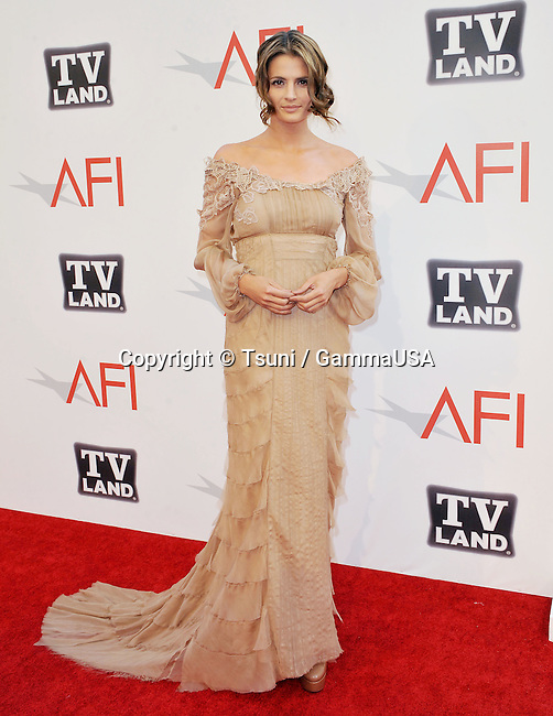 Stana Katic at the AFI Honoring Morgan Freeman on the Sony Studio Lot in Culver City.