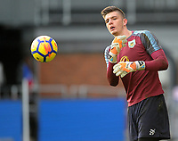 Burnley's Nick Pope during the pre-match warm-up <br /> <br /> Photographer Ashley Crowden/CameraSport<br /> <br /> The Premier League - Crystal Palace v Burnley - Saturday 13th January 2018 - Selhurst Park - London<br /> <br /> World Copyright &copy; 2018 CameraSport. All rights reserved. 43 Linden Ave. Countesthorpe. Leicester. England. LE8 5PG - Tel: +44 (0) 116 277 4147 - admin@camerasport.com - www.camerasport.com