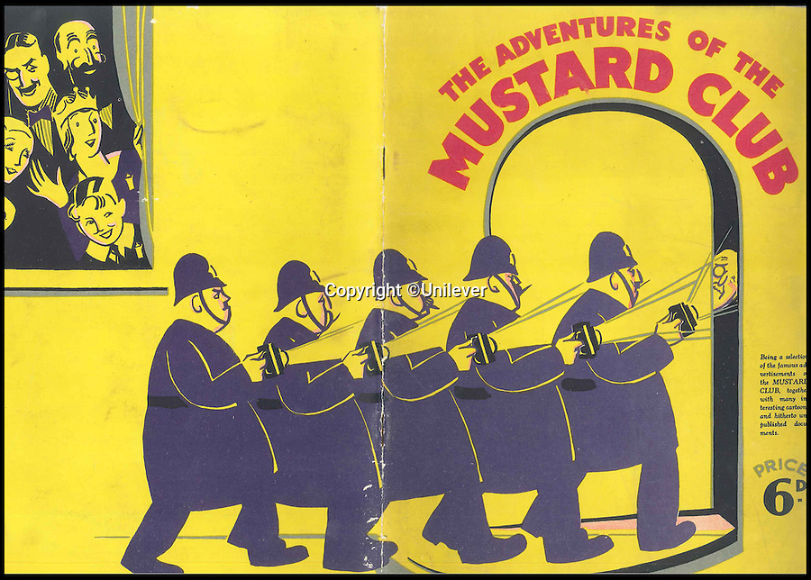 BNPS.co.uk (01202 558833)<br /> Pic: Unilever/BNPS<br /> <br /> 1930 cover of the Mustard club book.<br /> <br /> A staple of the British kitchen is celebrating its anniversary this year as Colman's Mustard turns 200.<br /> <br /> Archivist's research reveals the 200 year history of Colmans mustard.<br /> <br /> Founded in Norwich in 1814 by Jeremiah Colman, the super hot condiment made from Norfolk mustard seeds soon become a family favourite at dinner tables throughout the Empire, with even Capt Scott taking a case on his ill fated Terra Nova expedition to the south pole.<br /> <br /> So vital was the powdered sauce that it escaped wartime rationing to keep the home fires burning during the dark days of WW2. <br /> <br /> Despite being founded a year before Napoleon met his Waterloo, the world famous brand still produces 3000 tons of the fiery favourite every year exporting to all parts of the globe.