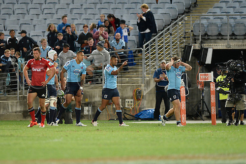 23.05.2015.  Sydney, Australia. Super Rugby. NSW Waratahs versus the Crusaders. Waratahs centre Kurtley Beale celebrates the Tahs scoring a try. The Waratahs won 32-22.