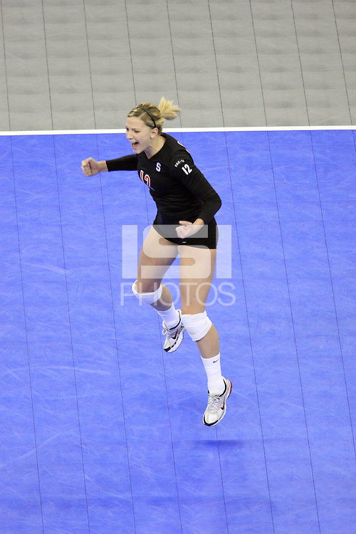 Omaha, NE - DECEMBER 20:  Outside hitter Erin Waller #12 of the Stanford Cardinal during Stanford's 20-25, 24-26, 23-25 loss against the Penn State Nittany Lions in the 2008 NCAA Division I Women's Volleyball Final Four Championship match on December 20, 2008 at the Qwest Center in Omaha, Nebraska.