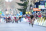 Jerome Cousin (FRA) Direct Energie and Nils Politt (GER) Katusha-Alpecin from the breakaway group approach the finish line of Stage 5 running 165km from Salon-de-Provence to Sisteron, France. 8th March 2018.<br /> Picture: ASO/Alex Broadway | Cyclefile<br /> <br /> <br /> All photos usage must carry mandatory copyright credit (&copy; Cyclefile | ASO/Alex Broadway)
