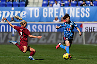 HARRISON, NJ - MARCH 08: Rachel Daly #2 of England defends Asato Miyagawa #16 of Japan during a game between England and Japan at Red Bull Arena on March 08, 2020 in Harrison, New Jersey.