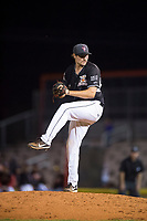 Salem-Keizer Volcanoes relief pitcher Zach Becherer (16) delivers a pitch during a Northwest League game against the Eugene Emeralds at Volcanoes Stadium on August 31, 2018 in Keizer, Oregon. The Eugene Emeralds defeated the Salem-Keizer Volcanoes by a score of 7-3. (Zachary Lucy/Four Seam Images)