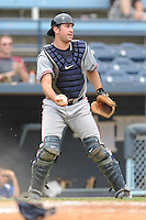 Rome Braves catcher Cory Brownsten  #23 fields a ball during a game against the Asheville Tourists at McCormick Field on June 26, 2011 in Asheville, North Carolina.  The Tourists won the game 4.  (Tony Farlow/Four Seam Images)
