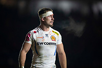 Exeter Chiefs' Sam Hill<br /> <br /> Photographer Bob Bradford/CameraSport<br /> <br /> Gallagher Premiership Round 9 - Harlequins v Exeter Chiefs - Friday 30th November 2018 - Twickenham Stoop - London<br /> <br /> World Copyright © 2018 CameraSport. All rights reserved. 43 Linden Ave. Countesthorpe. Leicester. England. LE8 5PG - Tel: +44 (0) 116 277 4147 - admin@camerasport.com - www.camerasport.com