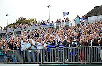 A general view of Bath supporters celebrating after the match. Aviva Premiership match, between Bath Rugby and Leicester Tigers on September 20, 2014 at the Recreation Ground in Bath, England. Photo by: Patrick Khachfe / Onside Images