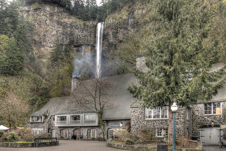 Multnomah Falls Lodge HDR Columbia River Gorge Oregon Spring 2011