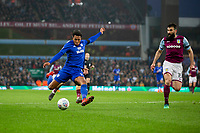 Nathaniel Mendez-Laing of Cardiff City shoots at goal during the Sky Bet Championship match between Aston Villa and Cardiff City at Villa Park, Birmingham, England on 10 April 2018. Photo by Mark  Hawkins / PRiME Media Images.