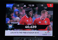 The crowd attendance of 40,639 is flashed on the big screen during the 2017 DHL Lions Series rugby union match between the Blues and British & Irish Lions at Eden Park in Auckland, New Zealand on Wednesday, 7 June 2017. Photo: Dave Lintott / lintottphoto.co.nz