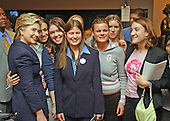 """Washington, D.C. - September 21, 2004 -- United States Senator Hillary Rodham Clinton (Democrat of New York), left, poses with a group of students after speaking at the Center for American Progress seminar titled """"Transforming the Reserve Component for the 21st Century"""" at Georgetown University in Washington, D.C. on September 21, 2001.  In her remarks, Senator Clinton criticized the Bush Administration for a lack of resources for the National Guard, even in the face of their expanded role in national security and homeland security efforts..Credit: Ron Sachs / CNP.(RESTRICTION: NO New York or New Jersey Newspapers or newspapers within a 75 mile radius of New York City)"""