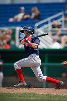 Lowell Spinners center fielder Dylan Hardy (17) hits a single during a game against the Batavia Muckdogs on July 15, 2018 at Dwyer Stadium in Batavia, New York.  Lowell defeated Batavia 6-2.  (Mike Janes/Four Seam Images)
