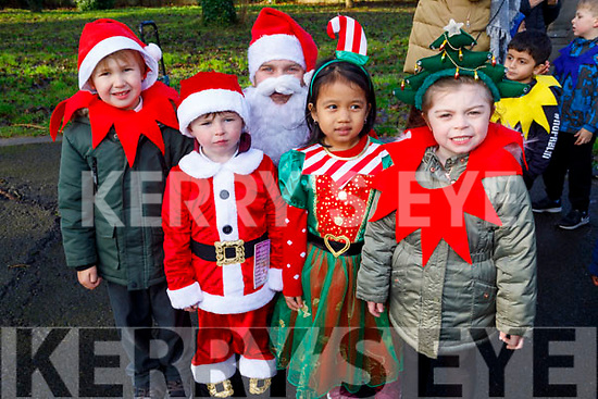 The students from Moyderwell NS meet Santa at their Christmas Jingle Bell run in the town park on Tuesday. <br /> L to r: Tyson Borovkovs, Martin Coffey, Santa, Bea Porment and Chloe Fitzgerald