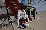 30.7.2015, Berlin Olympic Park. Competitions during the 14th European Maccabi Games. Fencing practice, taking a break.