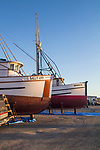 Port Townsend, Boat Haven, classic, wooden, fishing boat, on the hard Port of Port Townsend, Jefferson County, Olympic Peninsula, Puget Sound, Washington State, Pacific Northwest, USA,