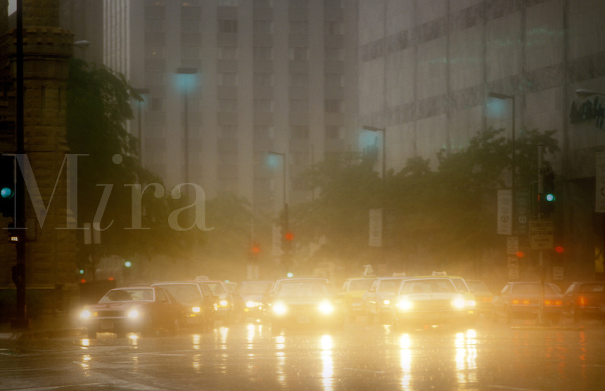 USA. Chicago.  Rain storm in the city center/centre