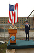 United States Secretary of Defense Donald Rumsfeld, left, and Chairman of the Joint Chiefs of Staff, US Air Force General Richard B. Myers, right, mark the 3 month anniversary of the terrorist attack on the Pentagon at a ceremony at the site of the plane crash in Washington, DC on December 11, 2001.<br /> Credit: Ron Sachs / CNP