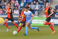 Bridgeview, IL, USA - Saturday, April 23, 2016: Chicago Red Stars midfielder Taylor Comeau (7) during a regular season National Women's Soccer League match between the Chicago Red Stars and the Western New York Flash at Toyota Park. Chicago won 1-0.