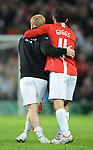 Manchester United's Paul Scholes and Manchester United's Ryan Giggs celebrate during the Champions League semi-final 2nd leg match at Old Trafford, Manchester. Picture date 29th April 2008. Picture credit should read: Simon Bellis/Sportimage