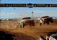 Apr 16, 2011; Surprise, AZ USA; LOORRS driver Jeff Geiser (44) and Rodrigo Ampudia (36) during round 3 at Speedworld Off Road Park. Mandatory Credit: Mark J. Rebilas-