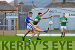 Tommy Walsh Kerins O'Rahillys shoots under pressure from Legions Jamie O'Sullivan during their County Championship quarter final in Fitzgerald Stadium on Saturday