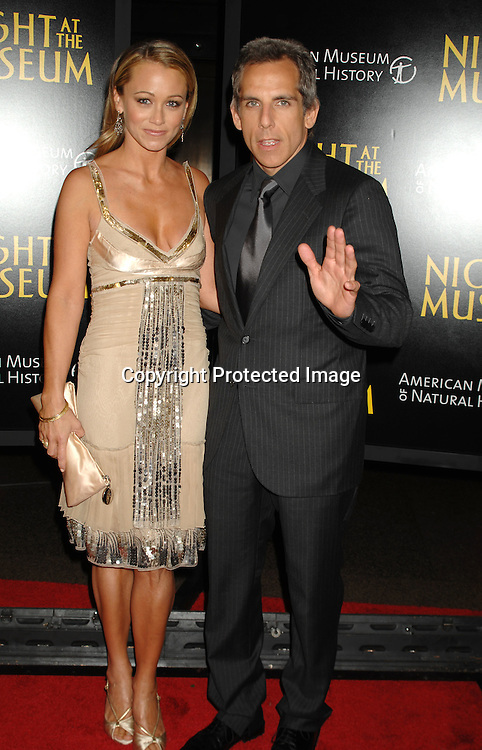 "Ben Stiller and wife Christine Taylor..at The World Movie Premiere of ""Night At The Museum"" and the official launch of the Natural History Museum's sleeepover program on December 17, 2006 at The American Museum of Natural History in New York...Robin Platzer, Twin Images"
