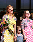 Katie Grober and Caitlin Houlahan with Katharine McPhee during her Broadway Debut Curtain Call in 'Waitress' at the Brooke Atkinson Theatre on April 10, 2018 in New York City.