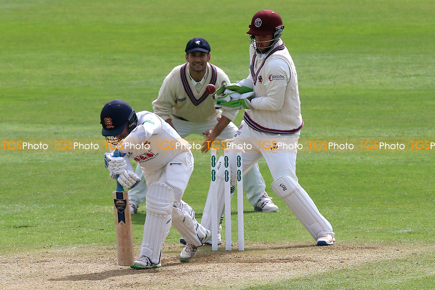 Adam Wheater of Essex is bowled out by Roelof van der Merwe during Somerset CCC vs Essex CCC, Specsavers County Championship Division 1 Cricket at The Cooper Associates County Ground on 15th April 2017