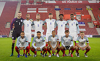 The Pre Match England team photo (back row l-r) Goalkeeper Angus Gunn, Brendan Galloway, Calum Chambers, Jack Stephens, Nathaniel Chalobah & Demarai Gray (front row l-r) Nathan Redmond, Lewis Baker, Isaac Hayden, John Swift & James Ward-Prowse during the Under 21 International Friendly match between England and Italy at St Mary's Stadium, Southampton, England on 10 November 2016. Photo by Andy Rowland.