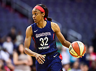 Washington, DC - June 15, 2018: Washington Mystics guard Shatori Walker-Kimbrough (32) handles the ball during game between the Washington Mystics and New York Liberty at the Capital One Arena in Washington, DC. (Photo by Phil Peters/Media Images International)