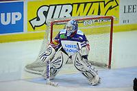 IJSHOCKEY: HEERENVEEN: IJsstadion Thialf, 02-02-2013, Eredivisie, UNIS Flyers - Amsterdam G's, Eindstand: 9-2, goalie Sjoerd Idzenga (#31 | Flyers), ©foto Martin de Jong