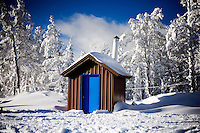 A view of the outhouse at the top of the hill at Showdown Ski Area on King's Hill in the Little Belt Mountains near Neihart, Montana, USA.