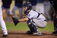 Cedar Rapids Kernels catcher Ben Rortvedt (9) waits to receive a pitch during a game against the Dayton Dragons on May 10, 2017 at Fifth Third Field in Dayton, Ohio.  Cedar Rapids defeated Dayton 6-5 in ten innings.  (Mike Janes/Four Seam Images)