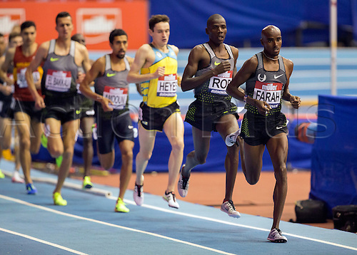 February 18th 2017,  Birmingham, Midlands, England; IAAF The Müller Indoor Grand Prix Athletics meeting; Mo Farah (GBR) leads the competitors in the final of the Men's 5000 Metres