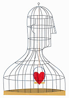 Heart inside birdcage in shape of a man