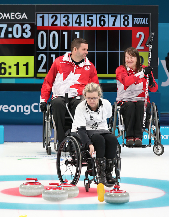 Pyeongchang, Korea, 15/3/2018- Mark Ideson and Ina Forrest compete in the  wheelchair curling during the 2018 Paralympic Games in PyeongChang.  Photo Scott Grant/Canadian Paralympic Committee.