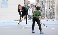 31 October 2017 - Princess Kate, Duchess of Cambridge takes part in a Tennis for Kids session during a visit at the Lawn Tennis Association (LTA) at the National Tennis Centre in southwest London. Duchess of Cambridge visited the LTA, the national governing body of tennis, where she was briefed on the organisations latest activities and objectives, and had the opportunity to watch a number of tennis demonstrations at the National Tennis Centre's on-court facilities. Photo Credit: ALPR/AdMedia