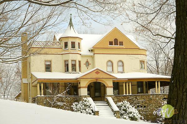 Sullivan County. McCormick Victorian mansion in winter snow