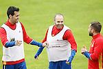 Spain's Sergio Busquets (l), Andres Iniesta (c) and Jordi Alba during preparing training stage to Euro 2016. May 30,2016.(ALTERPHOTOS/Acero)