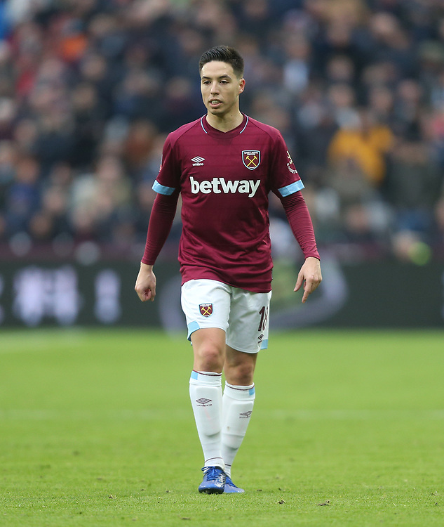West Ham United's Samir Nasri<br /> <br /> Photographer Rob Newell/CameraSport<br /> <br /> Emirates FA Cup Third Round - West Ham United v Birmingham City - Saturday 5th January 2019 - London Stadium - London<br />  <br /> World Copyright &copy; 2019 CameraSport. All rights reserved. 43 Linden Ave. Countesthorpe. Leicester. England. LE8 5PG - Tel: +44 (0) 116 277 4147 - admin@camerasport.com - www.camerasport.com
