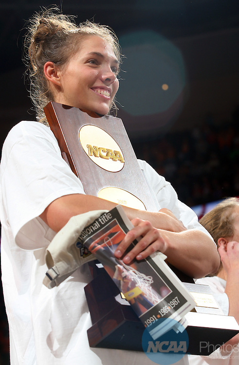 03 APR 2007:  Sidney Spencer (1) of the University of Tennessee celebrates the Volunteers victory over Rutgers University during the Division I Women's Basketball Championship held at Quicken Loans Arena in Cleveland, OH.  Tennessee defeated Rutgers 59-46 for the national title.  Jamie Schwaberow/NCAA Photos