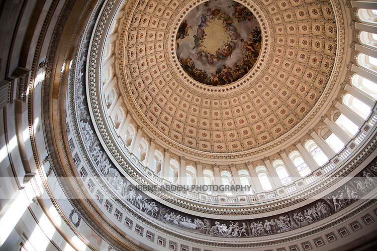 Rotunda and interior of the dome of the U.S. Capitol.