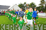 Jessie Stafoird Lacey Ireland Captainleads out his team before their match against Estonia U-16 International friendly at Pat Kennedy PArk Listowel on Tuesday