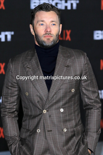 NON EXCLUSIVE PICTURE: MATRIXPICTURES.CO.UK<br /> PLEASE CREDIT ALL USES<br /> <br /> WORLD RIGHTS<br /> <br /> Australian actor Joel Edgerton attending the UK premiere of Netflix's 'Bright', held on London's Southbank.<br /> <br /> DECEMBER 15th 2017<br /> <br /> REF: MES 172875