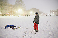 Campus Snow Day - night time Drill Field snow play<br />