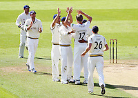 PICTURE BY ALEX WHITEHEAD/SWPIX.COM - Cricket - County Championship Div Two - Yorkshire v Glamorgan, Day 3 - Headingley, Leeds, England - 06/09/12 - Yorkshire players celebrate the wicket of Glamorgan's David Lloyd.