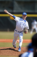 South Dakota State JackRabbits pitcher Joe Erickson (15) delivers a pitch during a game against the Maine Black Bears at South County Regional Park on March 9, 2014 in Port Charlotte, Florida.  Maine defeated South Dakota 5-4.  (Mike Janes/Four Seam Images)