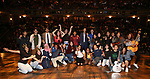 "Gabby Sorrentino with student performers during the Q & A before The Rockefeller Foundation and The Gilder Lehrman Institute of American History sponsored High School student #EduHam matinee performance of ""Hamilton"" at the Richard Rodgers Theatre on 5/22/2019 in New York City."